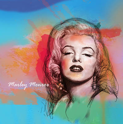 Marilyn Monroe Mixed Media - Marilyn Monroe Stylised Pop Art Drawing Sketch Poster by Kim Wang
