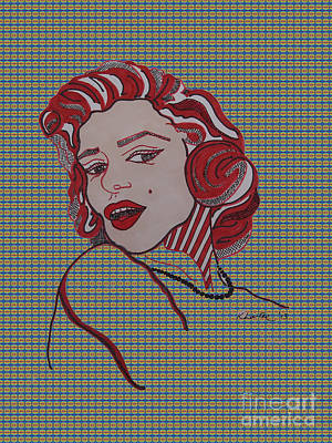 Norma Jean Drawing - Marilyn Monroe Tartan by Karen Larter