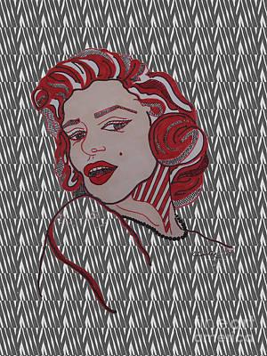 Norma Jean Drawing - Marilyn Monroe Zebra by Karen Larter