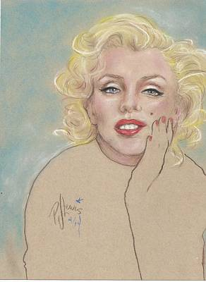 Famous People Drawing - Marilyn On Blue by P J Lewis
