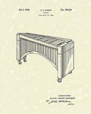 Marimba 1936 Patent Art Print by Prior Art Design