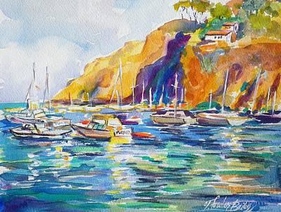 Marina At Catalina Print by Therese Fowler-Bailey