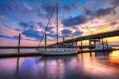 Marina At Sunset Print by Debra and Dave Vanderlaan