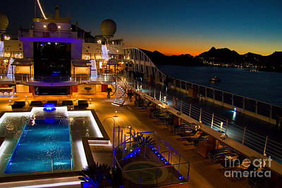 Marina Cruise Ship Pool Deck At Dusk Print by David Smith