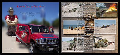Marine Hymn And Humvee 2 Panel Print by Thomas Woolworth