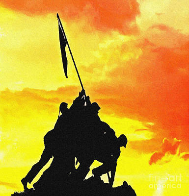 Marine Iwo Jima Memorial Dc Print by Bob and Nadine Johnston