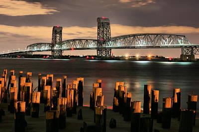 Moonlit Night Photograph - Marine Parkway Bridge by JC Findley