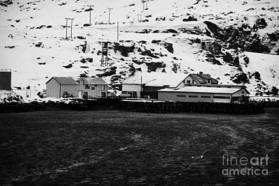 Marine Services Building And Pier Harbour Havoysund Finnmark Norway Euro Print by Joe Fox