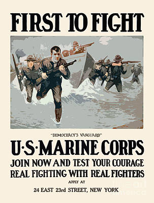 United States Digital Art - Marines - First To Fight by God and Country Prints
