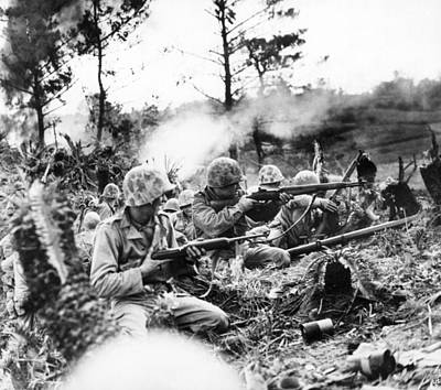 Marines In Okinawa Print by Underwood Archives