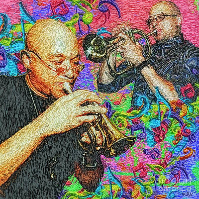 Trumpet Painting - Mark Ledford Tribute by Kevin Rogerson