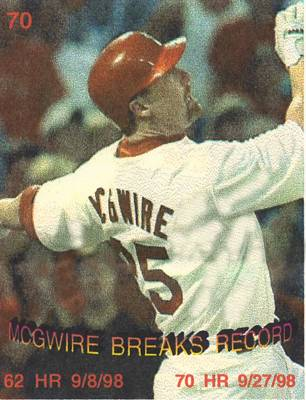 mark mcgwire breaking HR record Print by Pat Mchale