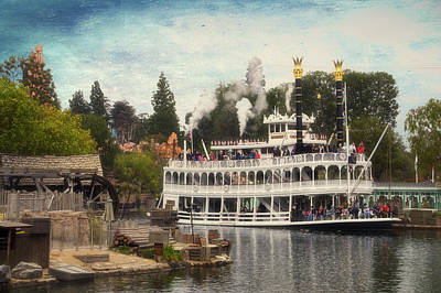 Merchandise Mixed Media - Mark Twain Riverboat Frontierland Disneyland Textured Sky by Thomas Woolworth