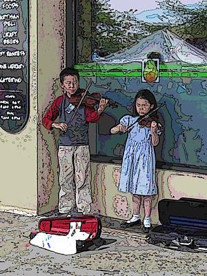 Violin Digital Art - Market Buskers 2 by Tim Allen