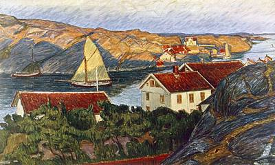 Sweden Drawing - Market In A Coastal Place by Karl Fredrick Nordstrom