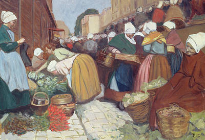 Cobbles Painting - Market In Brest by Fernand Piet