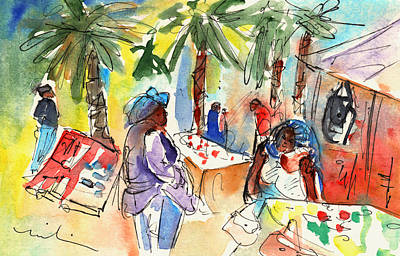 Canary Drawing - Market In Teguise In Lanzarote 03 by Miki De Goodaboom