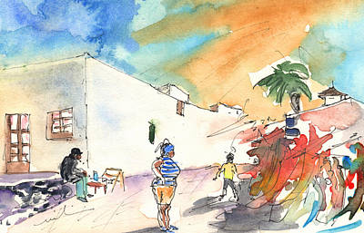 Canary Drawing - Market In Teguise In Lanzarote 04 by Miki De Goodaboom