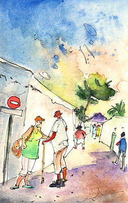 Canary Drawing - Market In Teguise In Lanzarote 05 by Miki De Goodaboom
