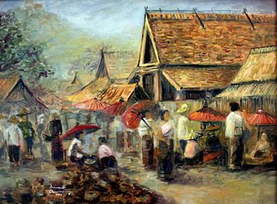 Laos Painting - Marketplace In Luang Prabang by Sompaseuth Chounlamany