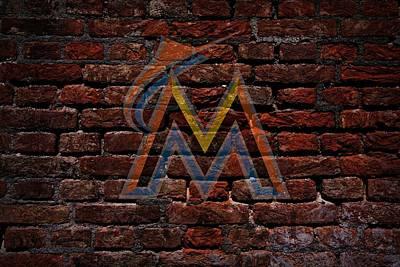 Marlins Baseball Graffiti On Brick  Print by Movie Poster Prints