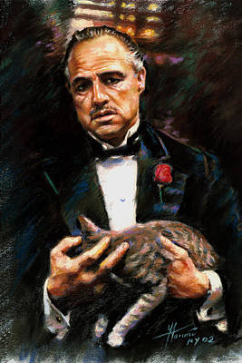 Movie Star Drawing - Marlon Brando The Godfather by Viola El