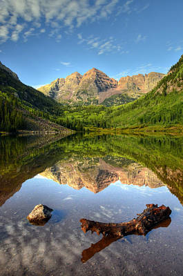Er Photograph - Maroon Bells And Maroon Lake by Ken Smith