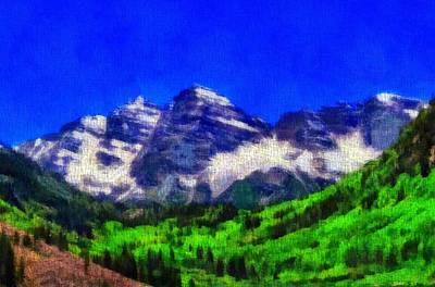 Mountain Mixed Media - Maroon Bells Colorado Peaks On Canvas by Dan Sproul