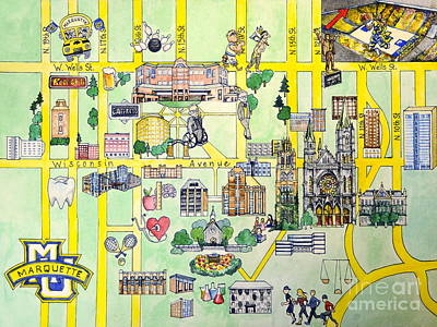 Harvard Drawing - Marquette Map by Marquette Map