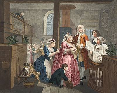 Moral Drawing - Married To An Old Maid, Plate V From A by William Hogarth