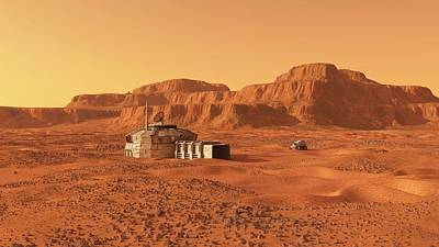 Mars Base Print by Walter Myers
