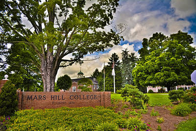 Mars Hill College Sign Print by Ryan Phillips