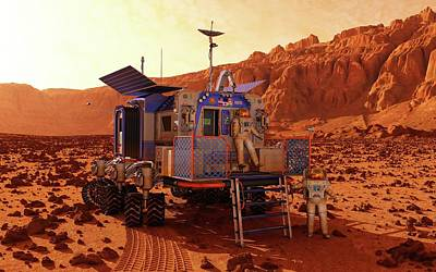 Mars Rover Canyon Print by Walter Myers