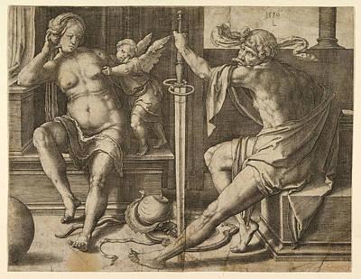 Lucas Van Leyden Drawing - Mars Venus And Cupid by Lucas van Leyden