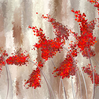Plum Painting - Marsala Abstract by Lourry Legarde