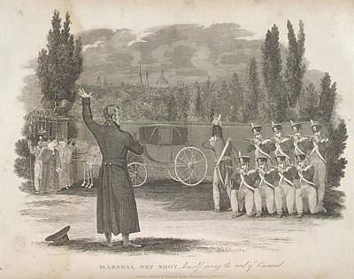 Marshal Ney Executed By Firing Squad Print by British Library