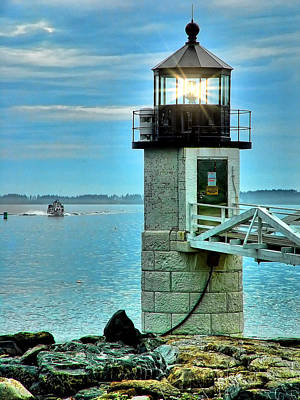 Marshall Point Light And Boat Print by Carolyn Fletcher