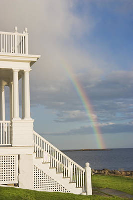 Front Steps Photograph - Marshall Point Lighthouse And Rainbow In Maine by Keith Webber Jr
