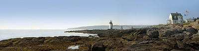 Rocky Digital Art - Marshall Point Lighthouse - Panoramic by Mike McGlothlen