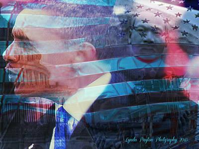Martin And Obama Print by Lynda Payton