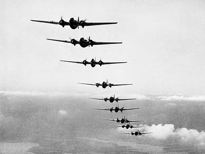 In A Row Photograph - Martin B-10s In Formation by Underwood Archives