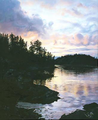 Sitka Painting - Martin Island Sunset by Kija  Elstad