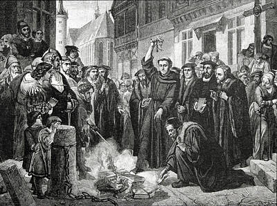 Pen Drawing - Martin Luther 1483 1546 Publicly Burning The Pope's Bull In 1521  by English School