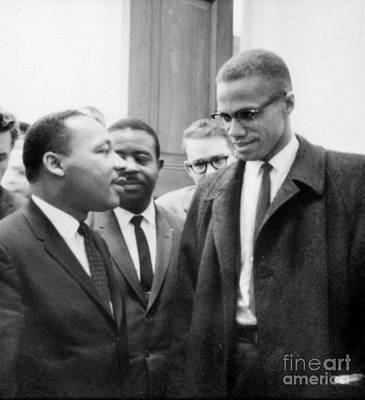 Martin Luther King And Malcolm X Print by Celestial Images