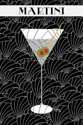 Cocktails Drawing - 1920s Martini Cocktail Art Deco Swing   by Cecely Bloom