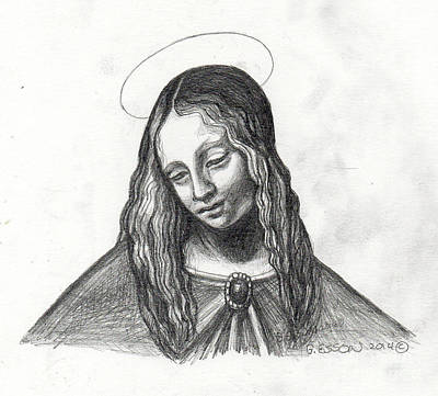 Spiritual Portrait Of Woman Painting - Mary After Davinci by Genevieve Esson