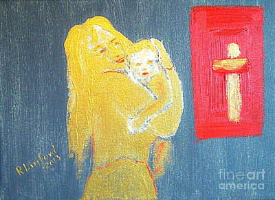 Mary And Baby Jesus 1 Print by Richard W Linford