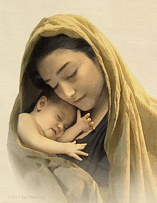 Digital Art - Mary And Baby Jesus by Ray Downing