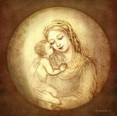 Child Jesus Mixed Media - Mary And Jesus by Ananda Vdovic