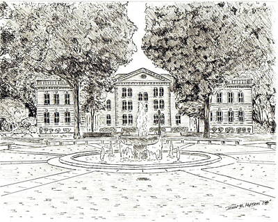 Macon Drawing - Mary Branch Dorm-randolph Macon College by John Hopson